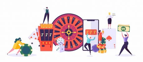 Casino and Gambling Concept. People Characters Playing in Games of Fortune